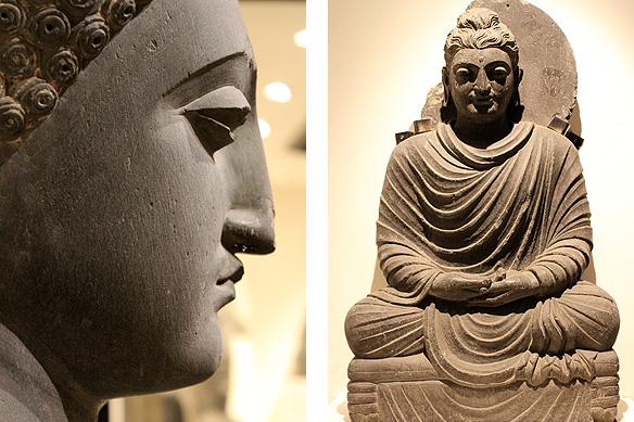 Left: Preaching Buddha (4th Century, Sahri, Bahlol); Right: Buddha in meditation (2nd Century, Loriyan, Tangai) in the Graeco-Roman Gandhara style