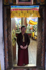 Caretaker monk, old temple at Zangto Pelri Lhakhang.
