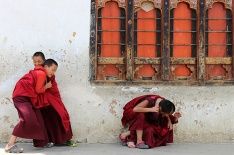 This is my all time favourite picture of Thimphu. Four boys busy wrestling, breaking into laughter in the process at Dechen Phodrang, Thimphu's original 12th Century dzong. It has housed the state monastic school since 1971 and provides an 8-year course to over 450 students.