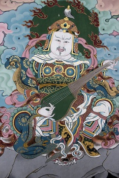 Wall mural, Trashi Chhoe Dzong depicting Padmasambhava or Guru Rinpoche, the 8th Century Tantric master credited with bringing Buddhism into Bhutan.