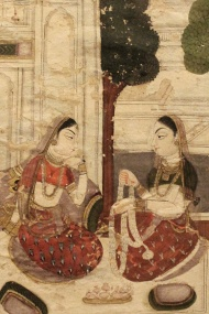 "Detail, Gaudamalhari ragini, Ragamala painting: Ragamala paintings are sets of miniature paintings based on the Ragamala or ""Garland of Ragas."" Each Raga represents a specific Indian musical mode."