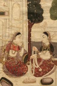 "Detail, Gaudamalhari ragini, Ragamala painting: Ragamala paintings are sets of miniature paintings based on the Ragamala or ""Garland of Ragas."" Each Raga represents a specific Indian musical mode."