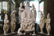 Ram's coronation, Ivory carving: Ivory has been used throughout India's history for the production of both utilitarian and ornamental objects with the style and form adapting to prevailing aesthetics. In Ram's coronation, carved during the British Raj, notice the European faces in the otherwise Indian composition and iconography.
