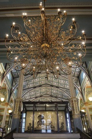 The spectacular chandelier, Victorian in design and modern fibre glass in form, was added as part of the new lights and electrical fittings in the restoration exercise by INTACH from 2003 to 2008.