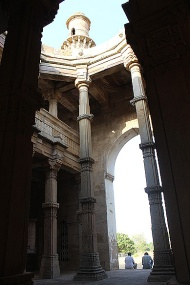 Inside the two-storeyed prayer hall of the Kevada Masjid with its collapsed central dome.