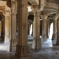 "Saher-ki-Masjid, the ""Mosque of the City"" was the Gujarat Sultanate's royal family and nobles' private mosque. Covering 56 X 40 metres in area, it was built using a mixed Indian trabeate [pillar and beam] and Islamic arcuate [column and arch] style."