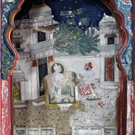 A subject, seated on the floor, disarmed, folds his hands in abeyance to the Maharao in an alcove painting.