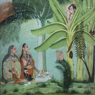 Two women paying homage to a yakshini or nature spirit.