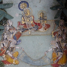 Krishna with Radha, surrounded by gopis in the Ras Lila, a traditional story of Krishna described in Hindu scriptures and literature.