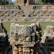 The 4-terraced water tank was used for ceremonial ablutions by pilgrims before entering the temple.