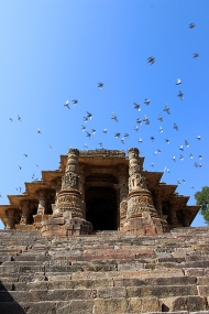 Steps lead up from the water tank or kund to the gateway or toran. Built on an east-west axis, the temple is dedicated to Surya—the sun god.