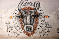 This is one of my absolute favourites. The three-eyed garlanded cow by @oliviajaneart, 2017.