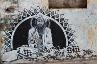 """""""Morning Chai"""" by Miles Toland. Toland takes his inspiration from the street culture of Rishikesh, transposing it into enigmatic works of art."""