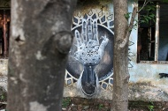 """""""Blessing"""" by Miles Toland. A work which beautifully summarizes the hidden graffiti of Rishikesh. <3"""