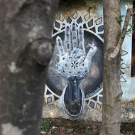 """Blessing"" by Miles Toland. A work which beautifully summarizes the hidden graffiti of Rishikesh. <3"
