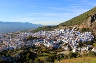 Chefchaouen, the blue pearl of the Rif Mountains, as seen from the Spanish Mosque.