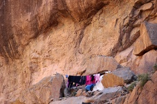 Look what I found. A laundry line up in the mountains next to an Amazigh nomad family's cave home.