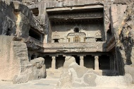 The outer facade of Cave 10 or Vishvakarma Cave. Cave 10 is the only chaityagriha [prayer hall] in the set of 12 Buddhist caves at Ellora.