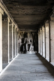 Perfect symmetry. The Buddhist caves, like all the others in Ellora, were excavated from solid rock. Pillars, sculptures, floors, ceilings, et al.