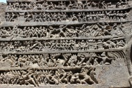Rows of carvings on Kailasha Temple's south-facing wall depict the Ramayana. The north wall carvings tell the story of the Mahabharata.