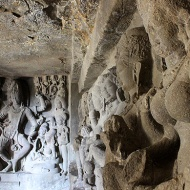 Rameshwara Temple [Cave 21] with a dancing Shiva and row of seven mother goddesses.