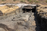 The five Jain caves at Ellora were the last to be excavated. Cave 30A, an incomplete cave, is a perfect example of how the caves were excavated from the rock—front to back and top to bottom simultaneously.