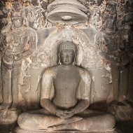 Mahavira, ground floor inner sanctum, Indra Sabha. Did you mistake it for Buddha? One way to differentiate between the two is Mahavira is always seated bare-chested whilst Buddha is robed.