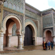 Bab al-Mansour Gate [1732 AD], Meknes' most beautiful gate stands outside the old imperial city, in the Place el-Hedim. It was built specifically to impress.