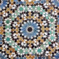 Detail, zellige decoration on Bab al-Mansour Gate.