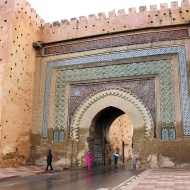 Built in 1673 AD, Bab el-Khemis Gate is one of the city gates leading into Meknes.