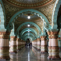 global travel shot: the durbar hall in mysore palace