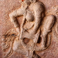 Dancing figure on another pillar in the gallery. The tilak on her forehead affirms even she is sacred.