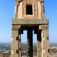 Closeup of the pavilion and pillar.