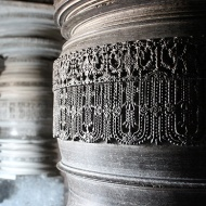 Hoysala columns with their trademark lathe-carved smooth surfaces in Akkana Basadi [1181 AD].